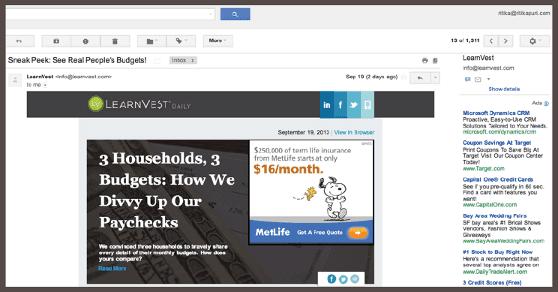 LearnVest предлагает подписчикам взглянуть на бюджеты реальных людей. Для этого нужно прочесть в блоге компании статью «З домашних хозяйства, 3 бюджета».