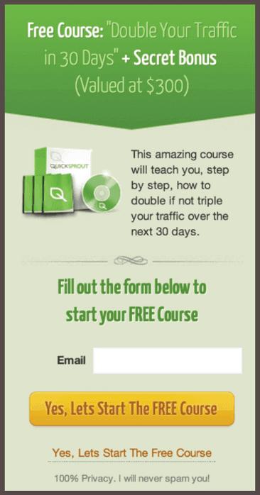 Предложение бесплатных курсов от QuickSprout: «Удвойте трафик за 30 дней»