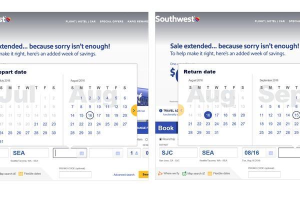На сайте Southwest Airlines после назначения отъезда на 16 августа 2016 г. для выбора даты возвращения предлагается другой диапазон.