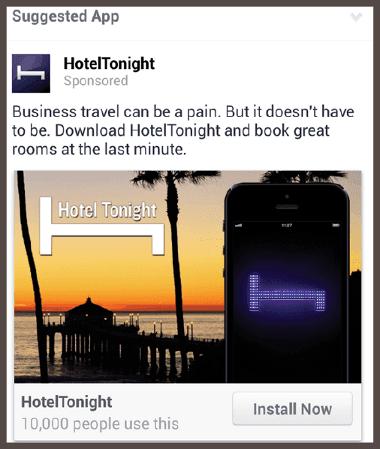 пример мобильного объявления, рекламирующего HotelTonight