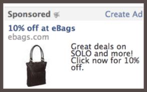 Это объявление в аккаунте Facebook увидит тот, кто задавал поисковый запрос по ключевому слову «Сумки» (Bags).
