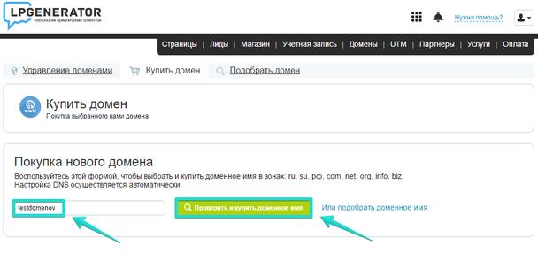 В соответствующее поле введите название домена, который хотите приобрести, и нажмите «Проверить и купить доменное имя»