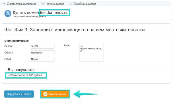 Убедитесь в корректности заполненных данных, а также проверьте название домена. Если все верно нажмите кнопку «Купить домен»
