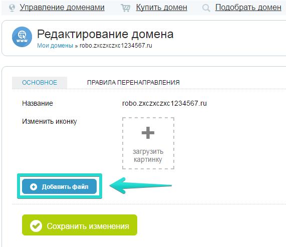 В карточке домена нажмите кнопку «Добавить файл»