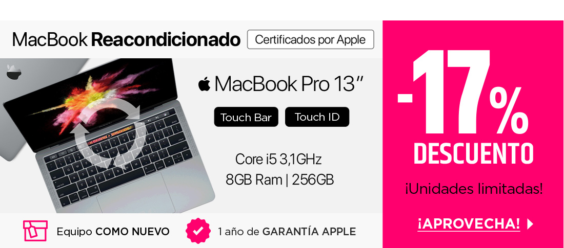 "SM CPO Apple Macbook Pro 13"" Touch Bar 3.1GHz dual-core i5, 256GB Plata"