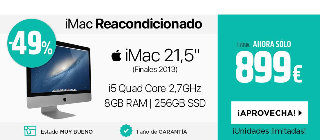 """SM Apple iMac 21,5"""" Core i5 2,7GHz (ME086Y/A) + SSD 256GB - Como nuevo - SIN teclado ni ratÛn"""