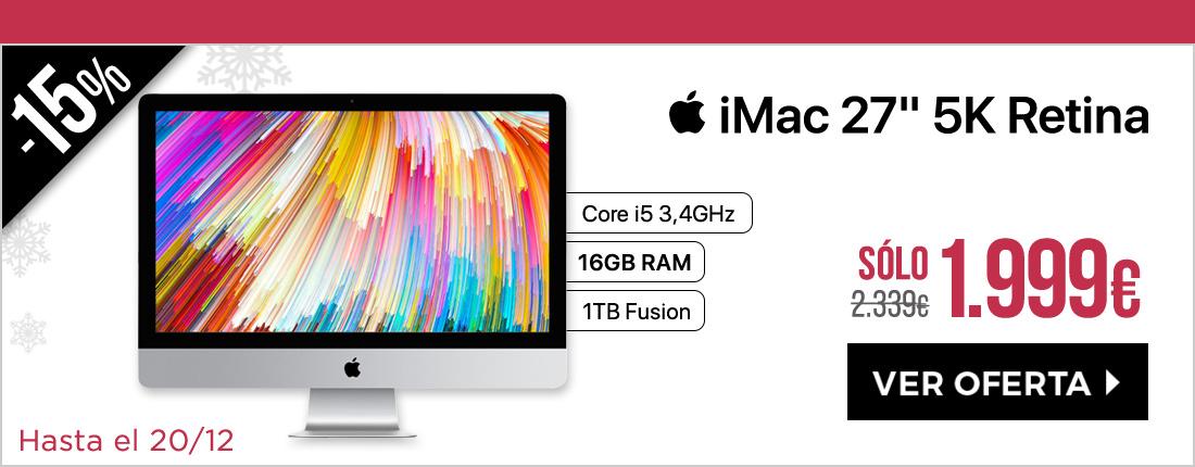 "Apple iMac 27"""" 5K Retina 3.4GHz Core i5 8GB Fusion 1TB RP570 + 16Gb"