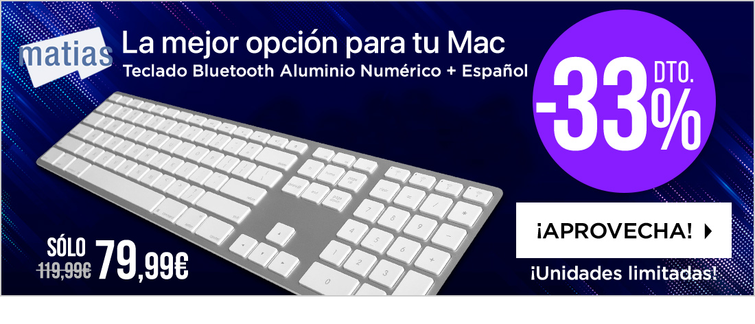 Matias Wireless Aluminum Keyboard Silver Español (05251)