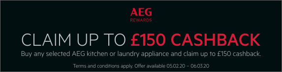 Up to ?150 cashback when you purchase any qualifying AEG kitchen or laundry appliance 05.02.2020 - 06.03.2020
