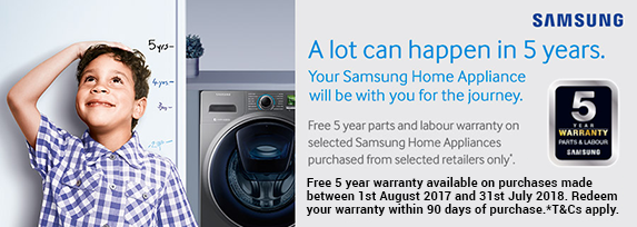 Samsung Extended 5 Year Warranty 01.08.2017 - 31.07.2018
