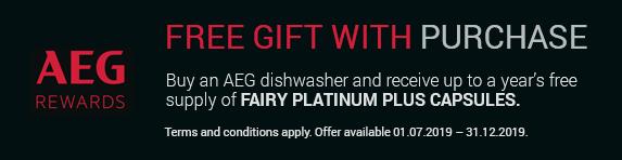 AEG Free Fairy Platinum Plus Dishwasher Capsules 01.07.2019 - 31.12.2019