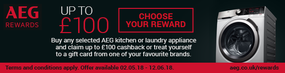 AEG Early Summer Cashback/Gift Card promotion 02.05-12.06.2018