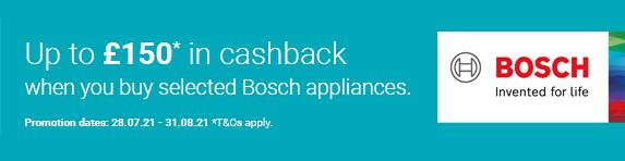 Bosch - Up to ?150 Cashback - 31.08.2021