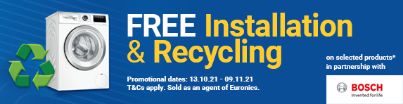Bosch - Free installation & Recycling when purchasing selected Bosch products