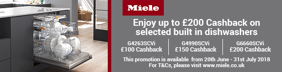 Miele Up to ?200 Dishwashers Cashback 20.06-31.07.18