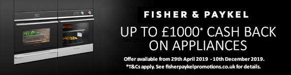 Fisher & Paykel up to ?1000 Cashback 29.04.2019 - 10.12.2019