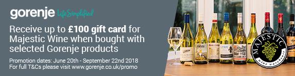 Gorenje Majestic Wine Gift Card Promotion 20.06-22.09.2018