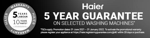 Haier - 5 Year Guarantee - Washing Machines - 31.01.2022