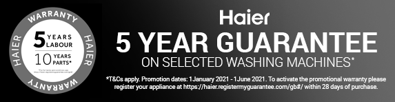 Haier - 5 year guarantee on washers - 01.06.2021