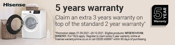 Hisense - 5 Year Laundry Warranty - 26.10.2021