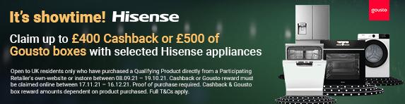 Hisense - Cashback or Gousto Rewards - 19.10.2021