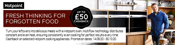 Hotpoint Up To ?50 Cashback on selected cooking appliances 14.09.2020 - 30.10.2020