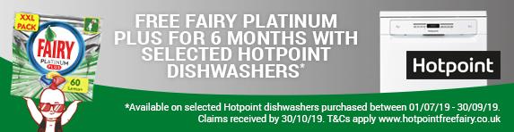Hotpoint 6 Months Free Fairy Platinum Plus 01.07.2019 - 30.09.2019