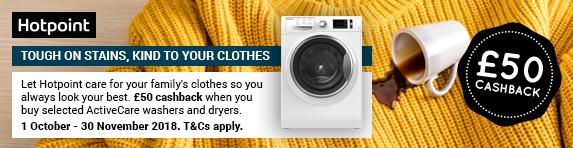 Hotpoint ?50 Laundry Cashback 01.10.18 - 09.11.18