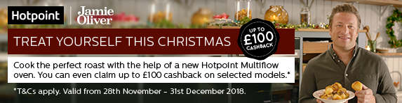 Hotpoint Up to ?100 Cashback on Selected Ovens 28.11-31.12.2018
