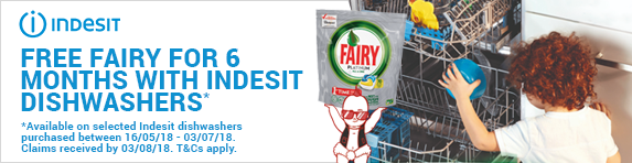 Indesit Free Fairy 6 Month Promotion 16.05-03.07.2018