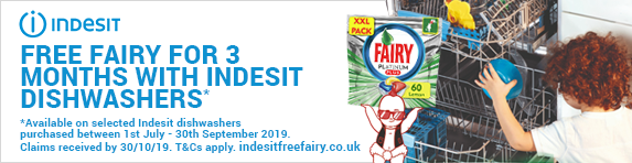 Indesit 3 Months Free Fairy Platinum Plus 01.07.2019 - 30.09.2019