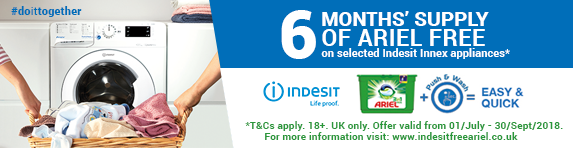 Indesit 6 Months Free Ariel Washers and Washer Dryers 01.07-30.09.2018