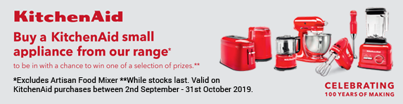 KitchenAid buy a selected small appliances and be in with a chance to win one of a selection of prizes. 02.09.2019 - 31.10.2019