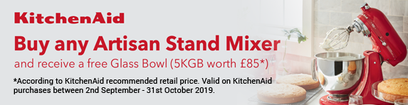 KitchenAid Buy any Artisan Stand Mixer and receive a free Glass Bowl 02.09.2019 - 31.10.2019