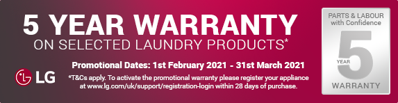 LG - 5 year guarantee on selected laundry - 31.03.2021