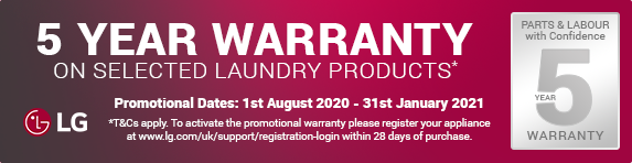 LG - 5 year guarantee on selected laundry - 31.01.2021