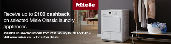 Miele Up to ?100 Cashback on Laundry 21.01-08.04.2019