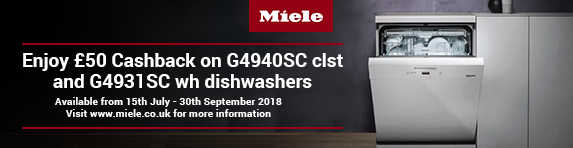 Miele ?50 Cashback on dishwashers 15.07-30.09.2018