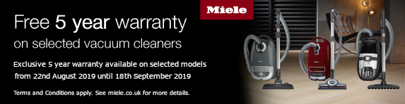 Miele Vacuums Free 5 Year Warranty 22.08.2019 - 18.09.2019