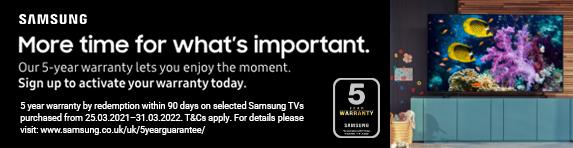 Samsung 5 Year TV Warranty - 31.03.2022