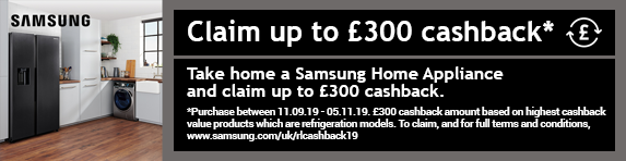 Samsung up to £300.00 cashback on selected appliances 11.09.2019 - 05.11.2019