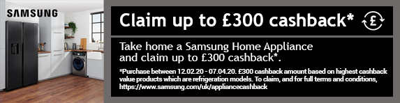 Samsung Claim up to £300 Cashback 12.02.2020 - 07.04.2020