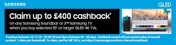 Samsung QLED 4K Cashback Promotion - 18.12.2019 - 03.03.2020