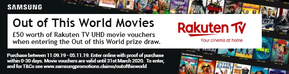 Samsung ?50 worth of Rakuten Vouchers when entering the Samsung 'Out of this World' Prize draw 11.09.2019 - 05.11.2019