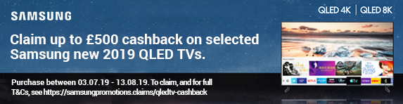 Samsung up to ?500 Cashback on 2019 QLED TV's
