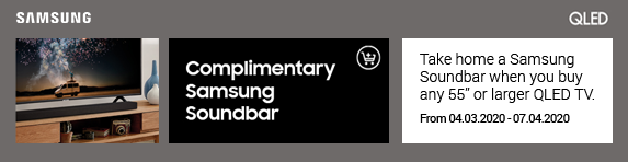 Samsung Complimentary Samsung Soundbar when purchasing selected QLED Televisions 04.03.2020 - 07.04.2020