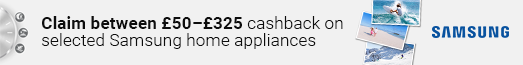 Samsung - Up to £325 cashback on Home Appliances - 02.11.2021