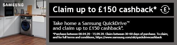 Samsung Quickdrive Cashback Promotion 08.04.2020 - 15.09.2020