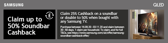 Claim up to 50% Soundbar Cashback 16.09.2020 - 03.11.2020