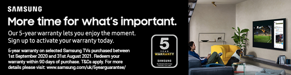 Samsung 5 Year TV Warranty 01.09.2020 - 31.08.2021